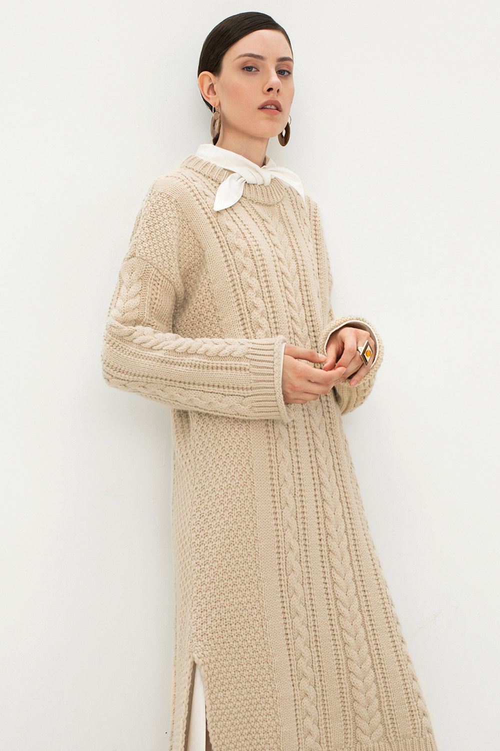 f0583e79d66 Oversized Cable Knit Sweater Dress – Genuine People