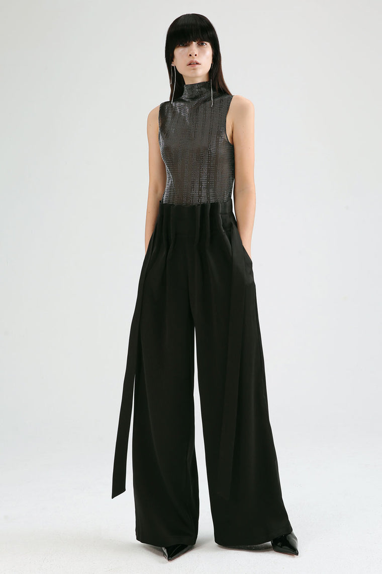 Pleated High-Waist Wide Leg Pants
