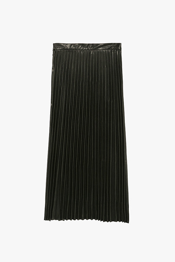 High Waist Faux Leather Pleated Skirt