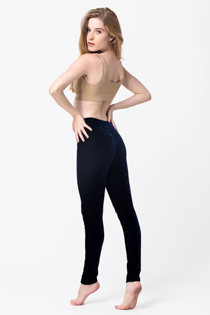 Navy Velvet Leggings