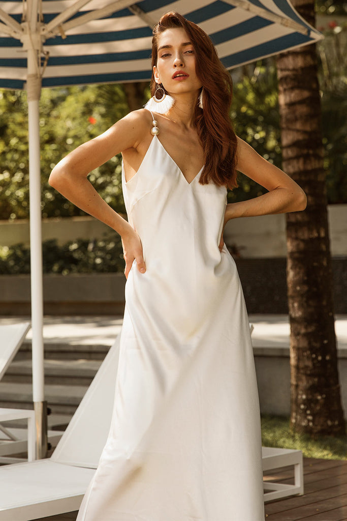 Slip on Dress with Pearls