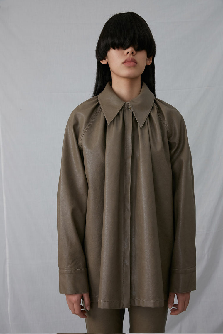 Collared Faux Leather Oversized Shirt
