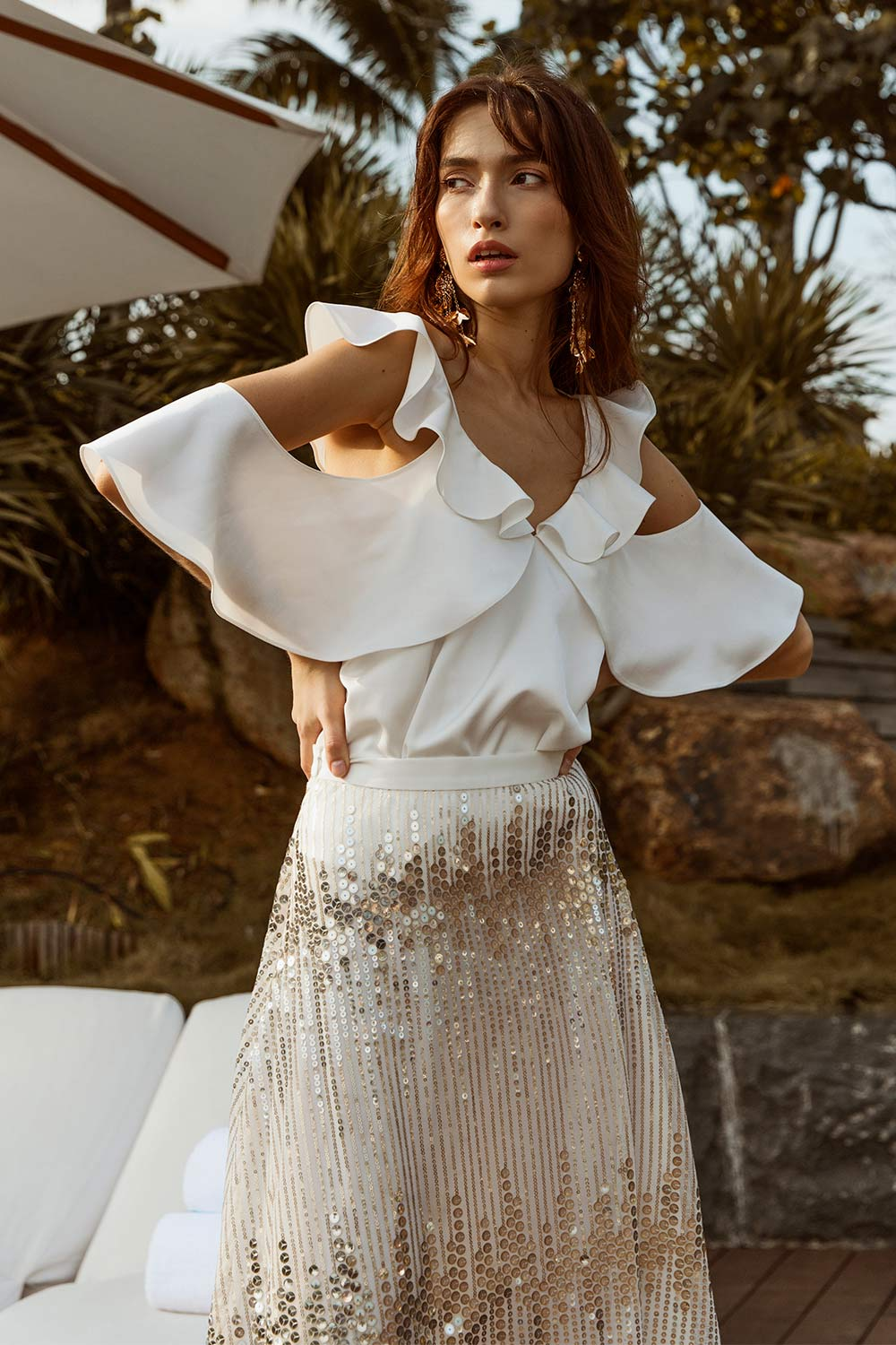 Sequin Flowy Skirt