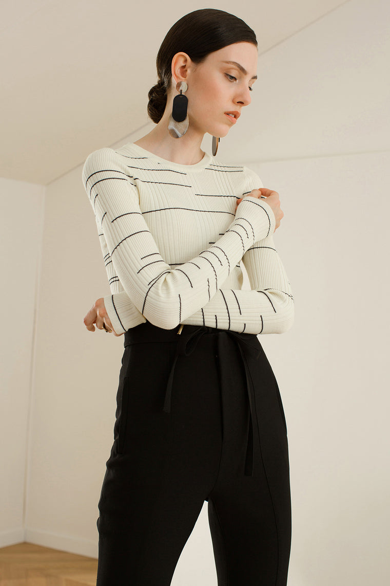 Ribbed Knit Long Sleeved Shirt