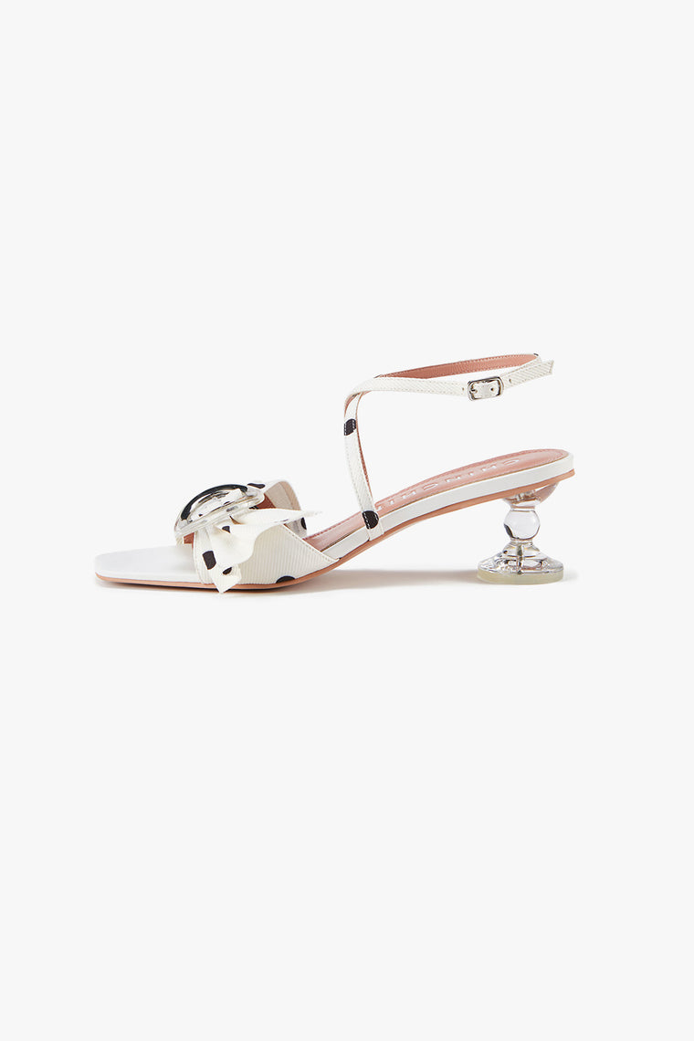 Silky Bow Crystal Heel Sandals