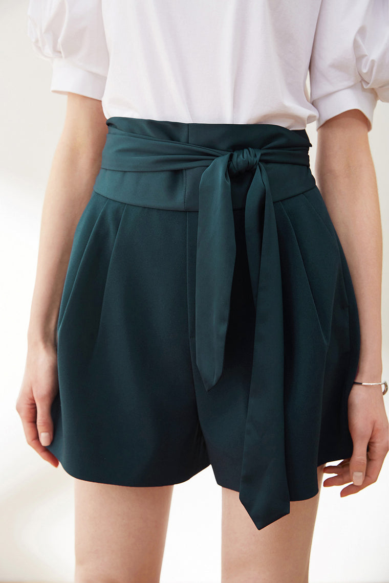 High Waist Silky Belted Shorts