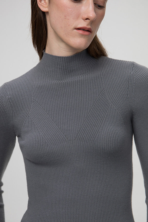 Ribbed High-Neck Shirt