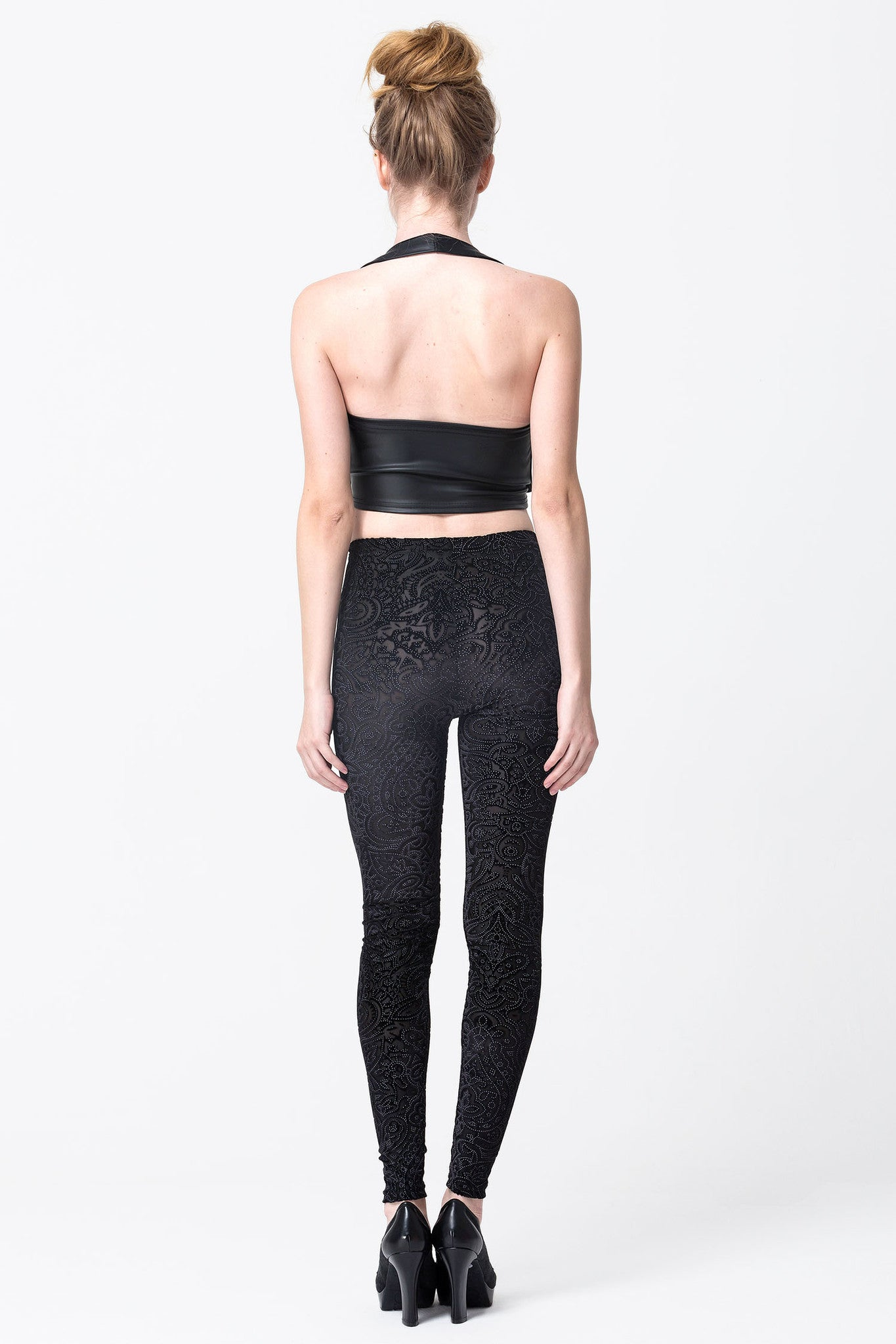 Black Velvet Mesh Leggings