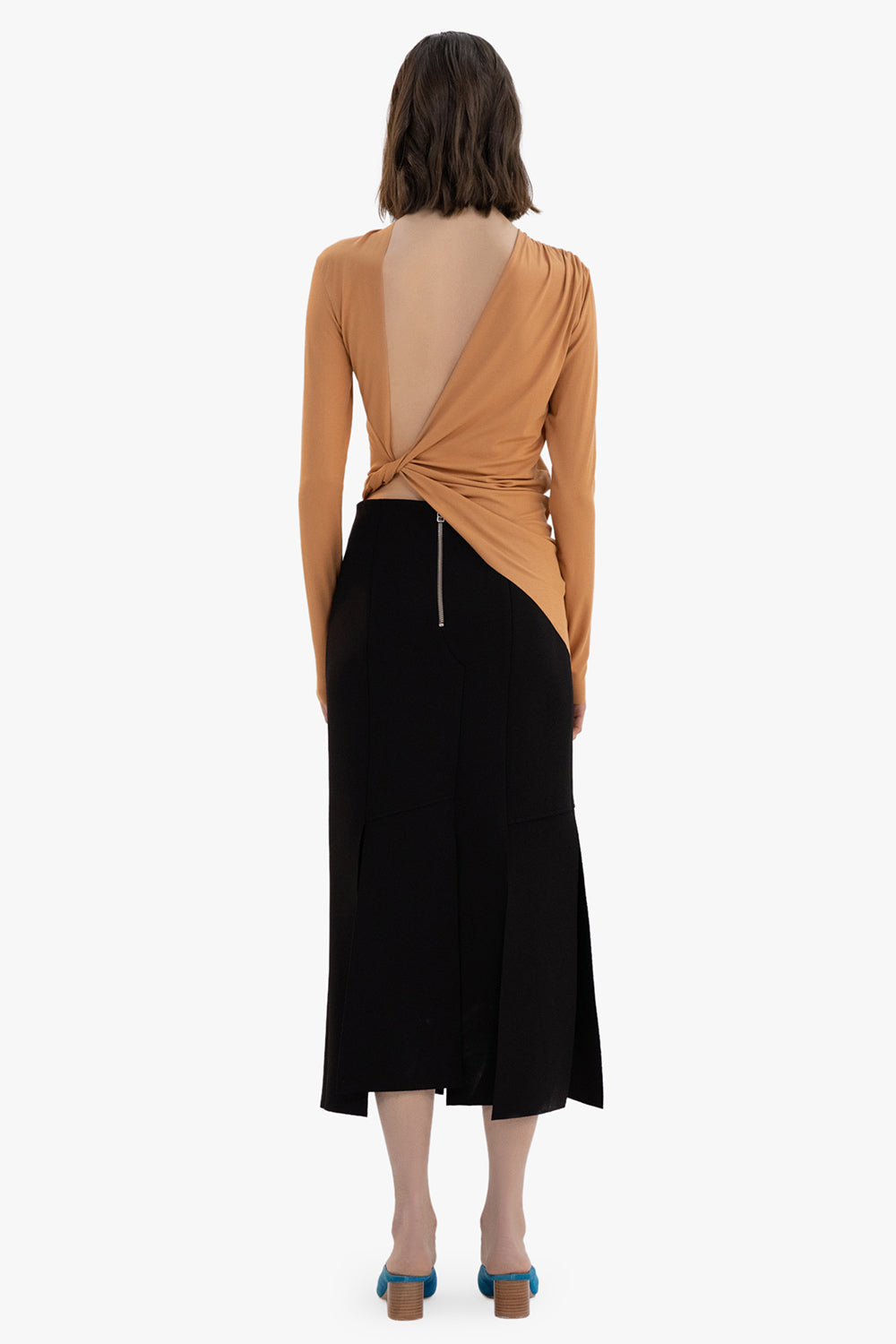 Open Back Pleated Shirt
