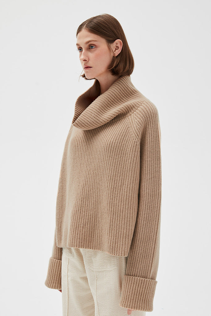 Ribbed Turtleneck Crop Sweater