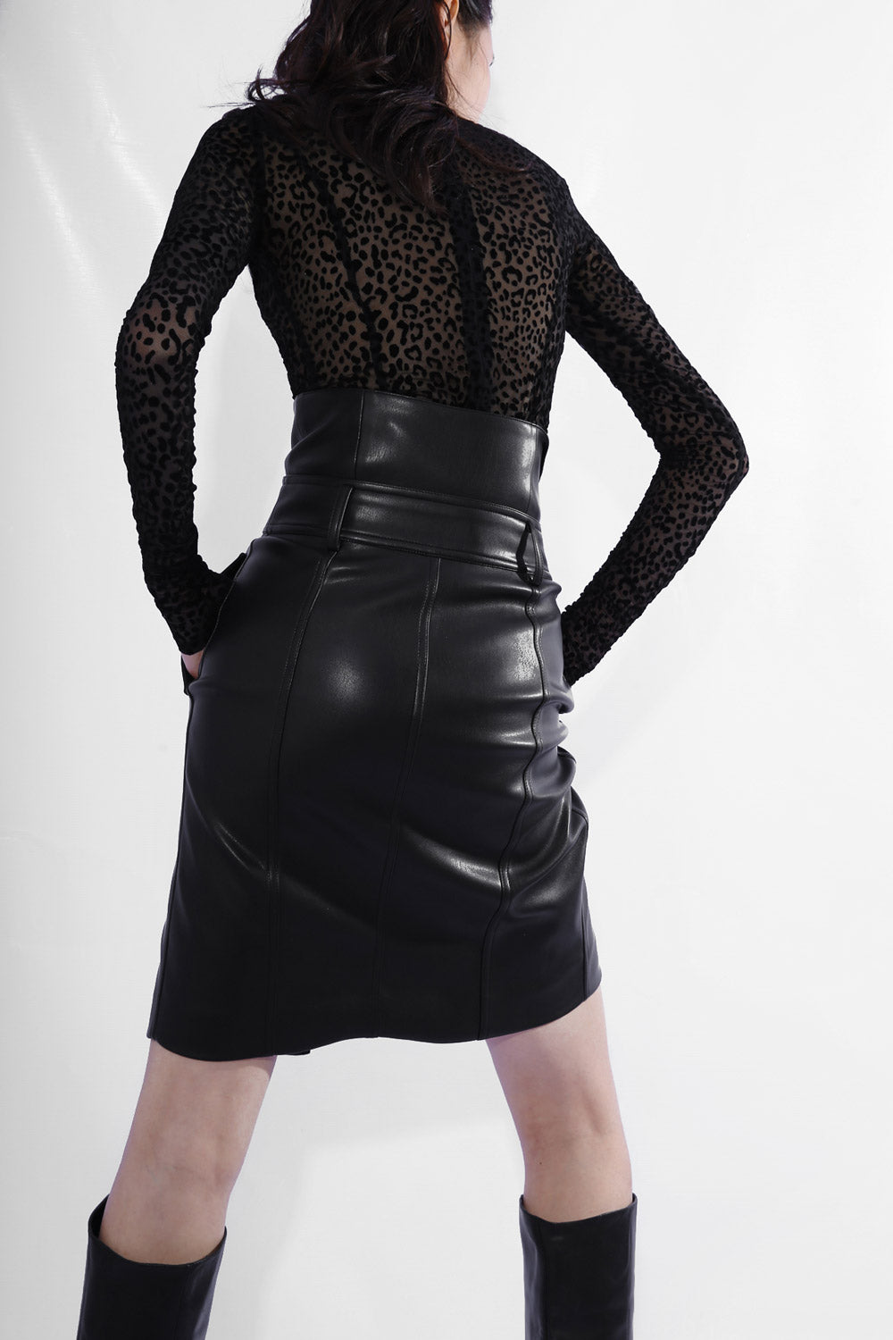 High-Rise Faux Leather Skirt