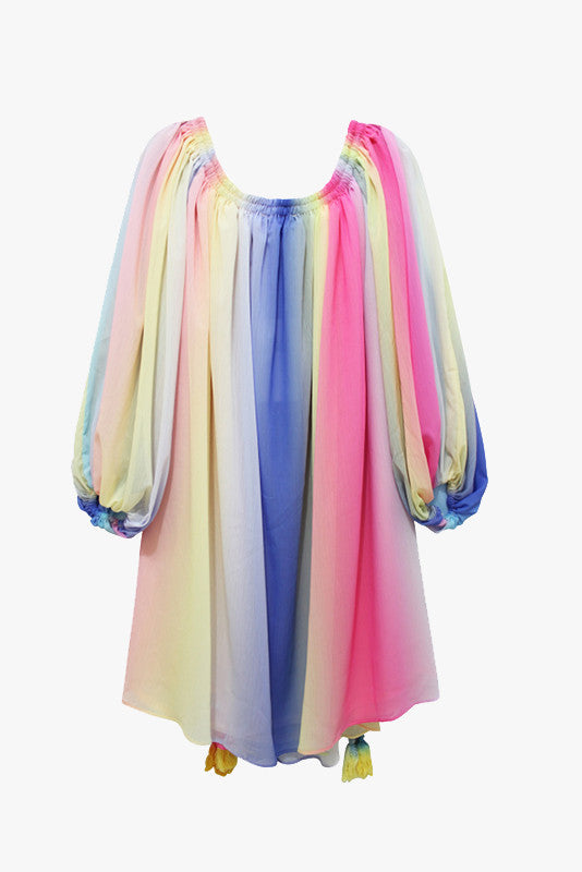 Rainbow Silky Chiffon Tunic Dress