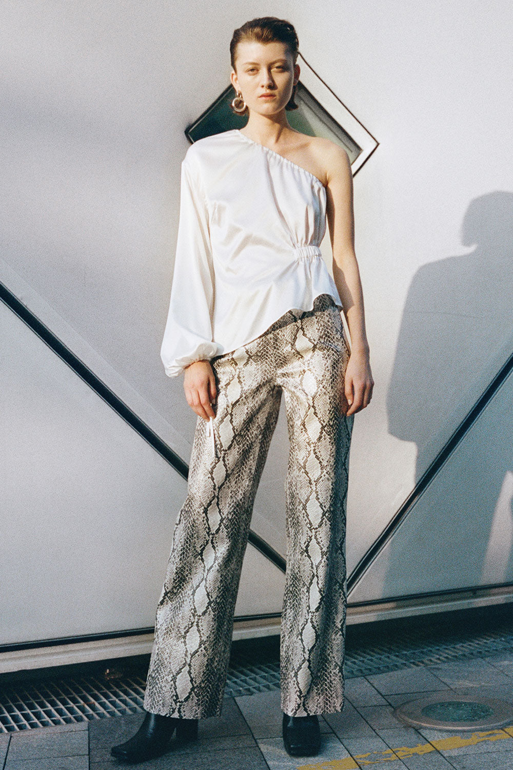 Snake Faux Leather Straight Pants