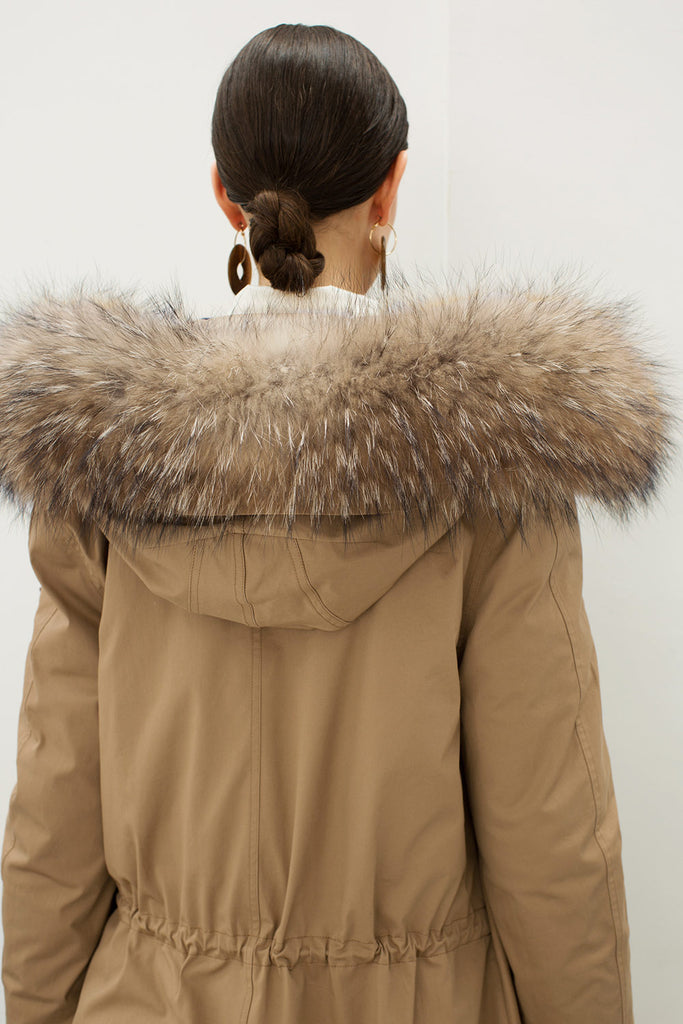 Padded Two-Piece Fur Trim Long Down Coat