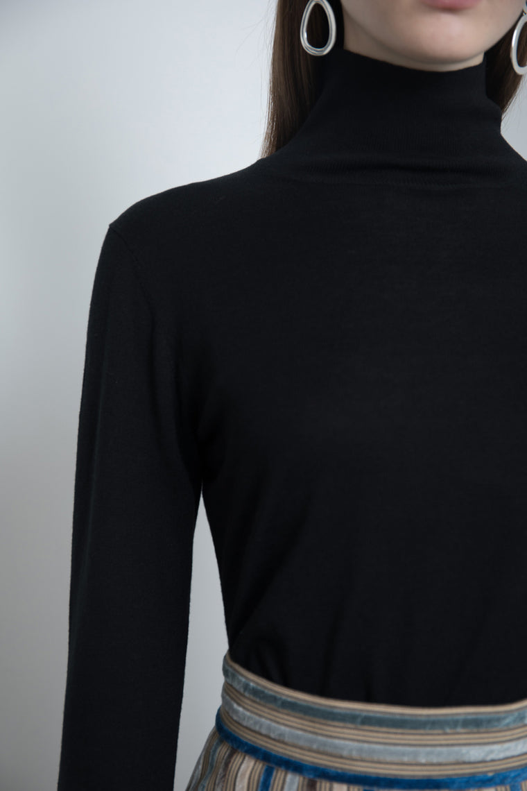 Silk Cotton Turtleneck Shirt