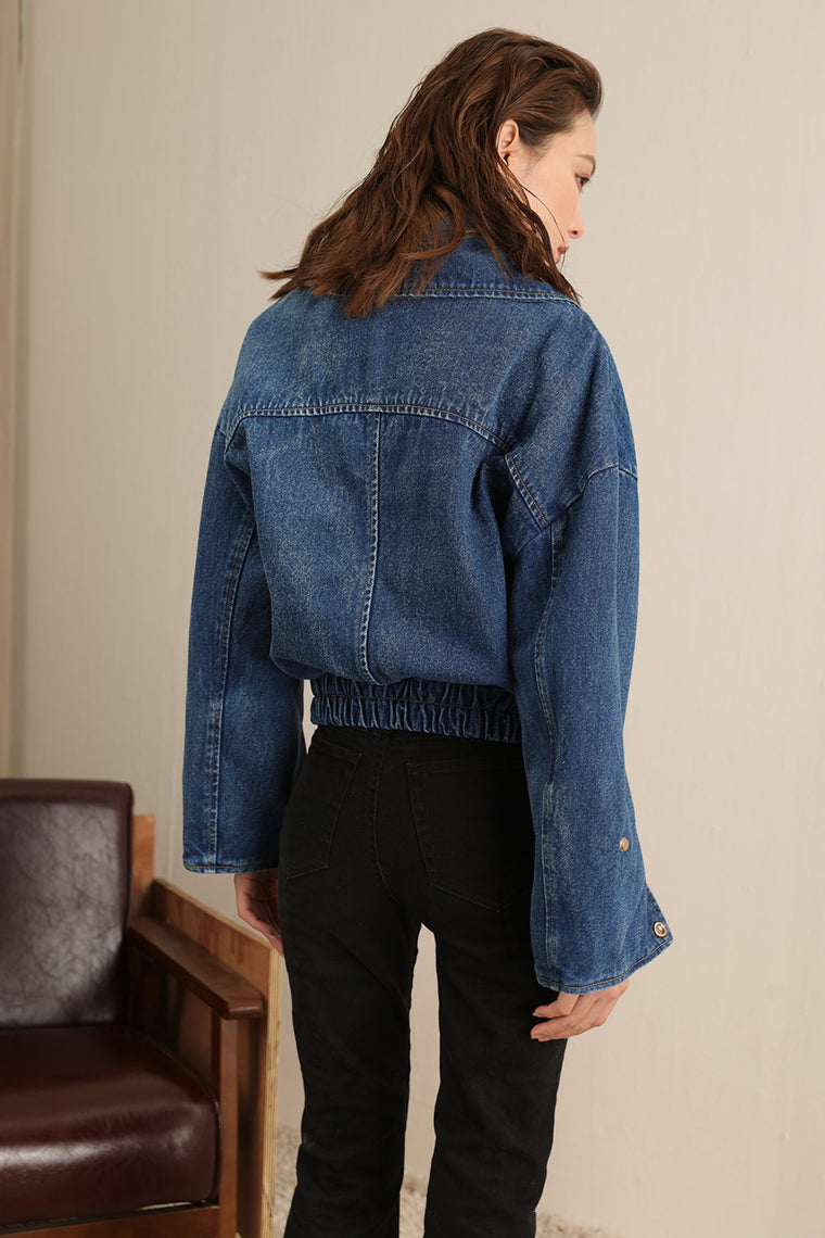 Denim Oversized Moto Jacket