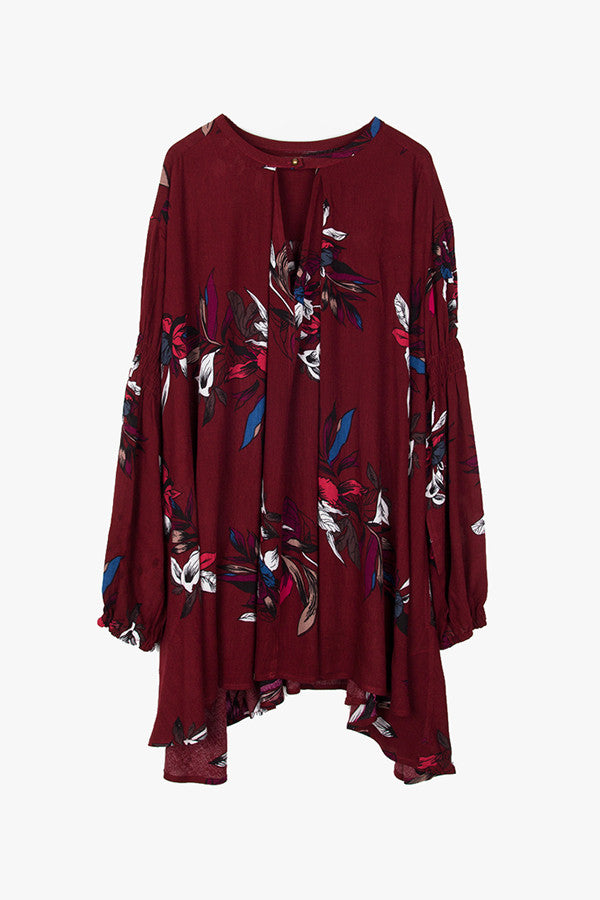 Dark Red Oversized Floral Tunic