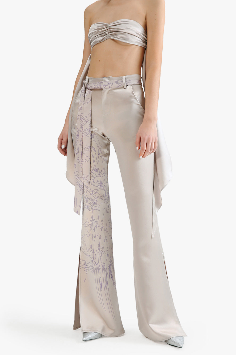 Silky Bell Bottom Pants