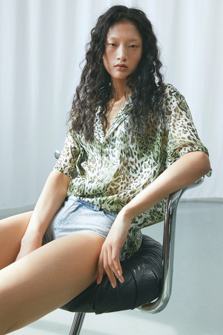 Sheer Leopard Short Sleeve Shirt
