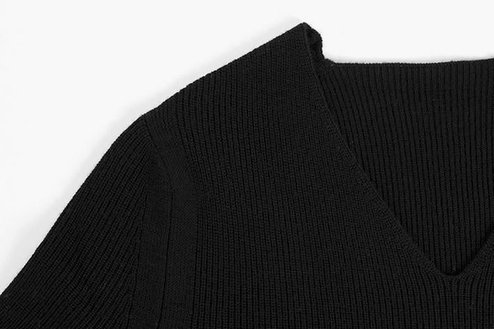 High Slit Wool Shirt Sweater