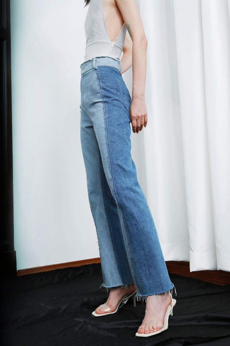 High-Rise Two-Tone Jeans