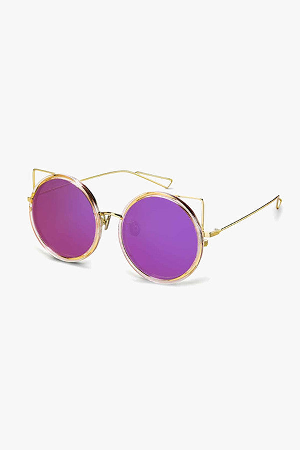 Round and Metal Frame Sunglasses