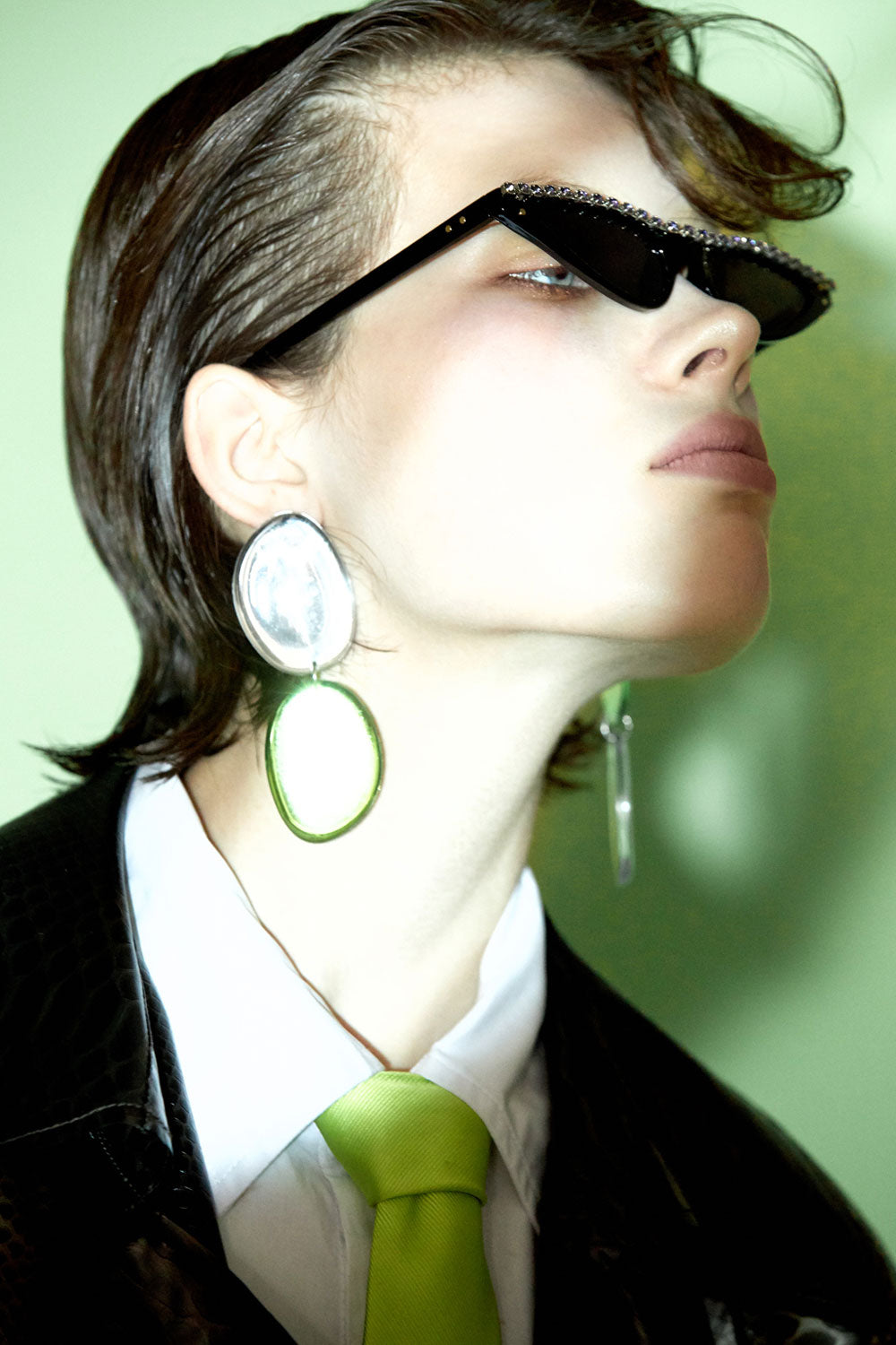 Asymmetrical Mirror Two-Tone Earrings