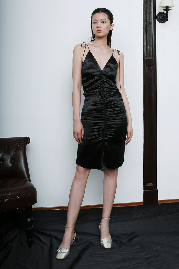 Satin Pleated Sling Dress