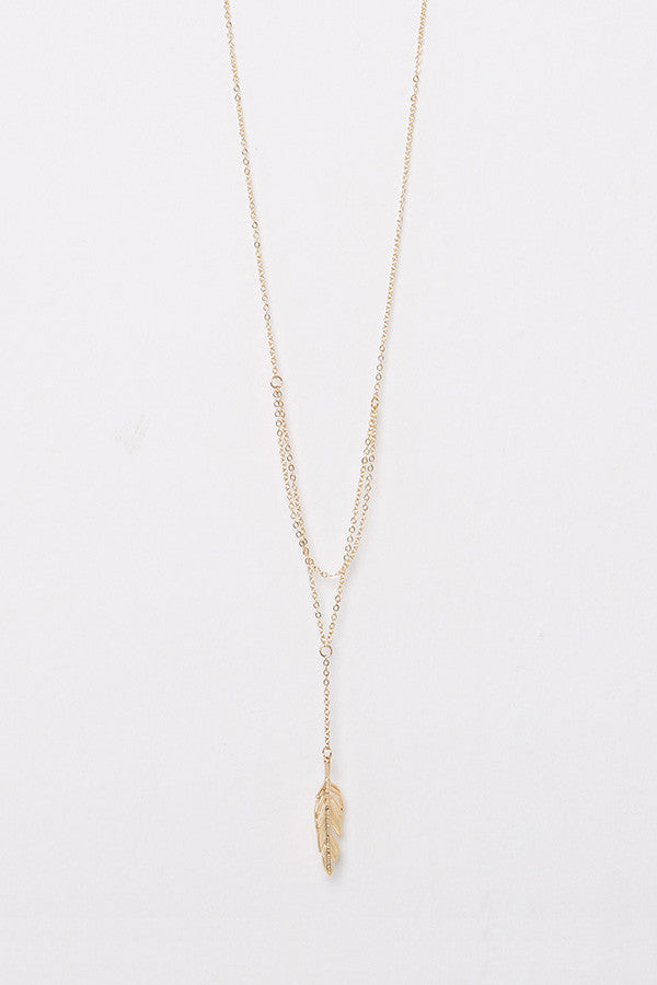 Layered Chain Feather Necklace