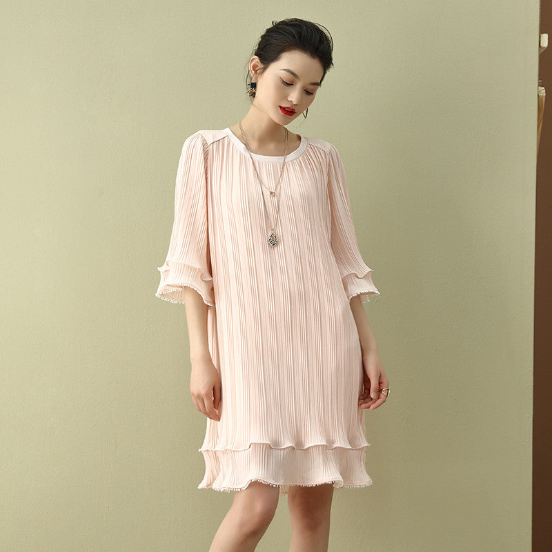 Pleated Mini Cocktail Dress