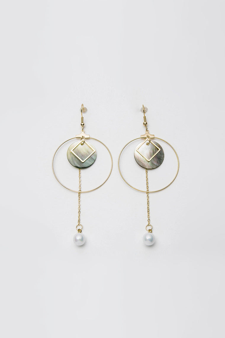 Shell and Pearl Drop Earrings