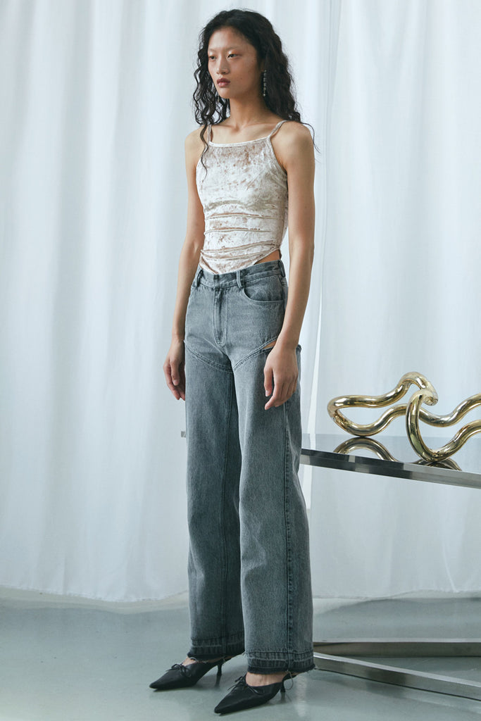 Cut-Out Wide-Leg Jeans
