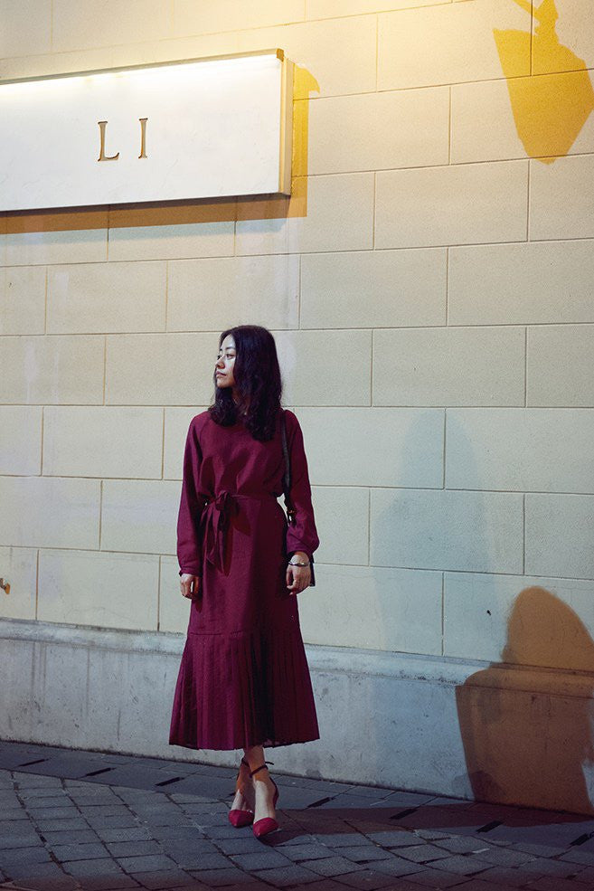 Long Sleeve Belted and Pleated Maxi Dress