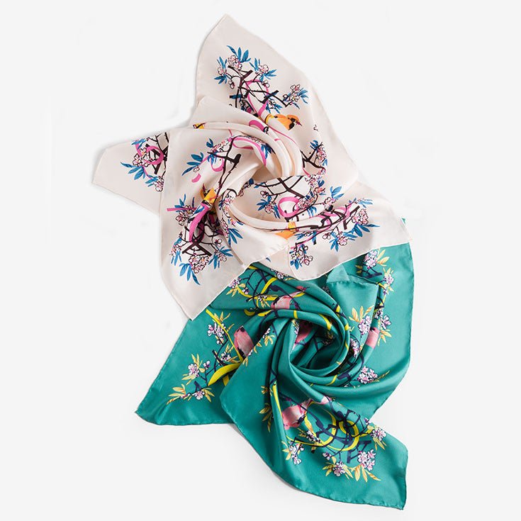 Silk Floral Square Scarf