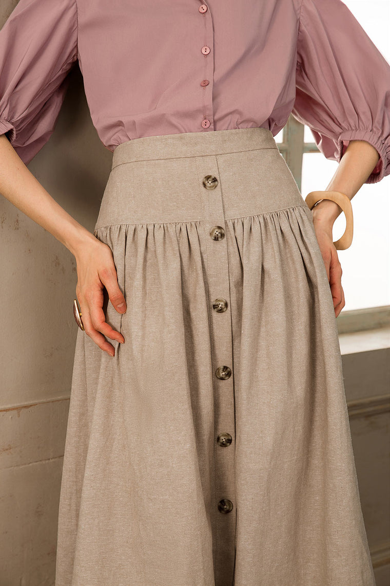 Linen Cotton Blend Midi Skirt