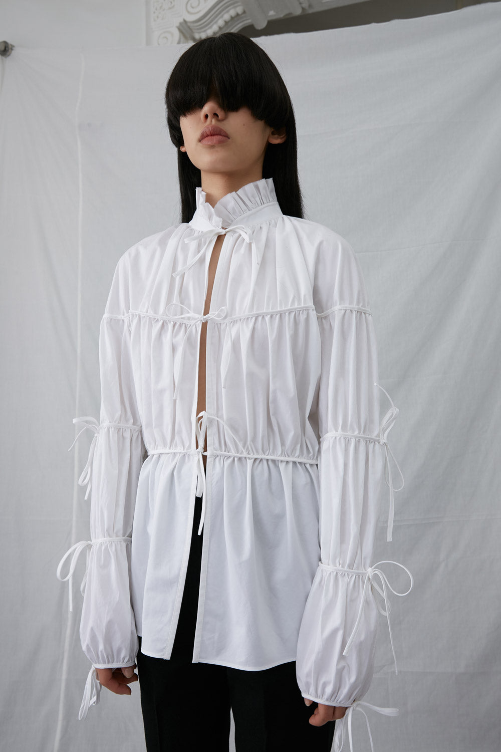 Pleated Bow Ties Shirt