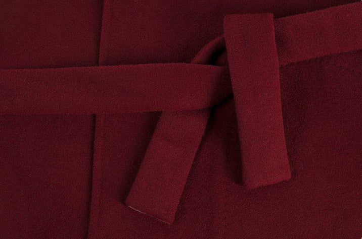 Burgundy Wrap Wool Coat