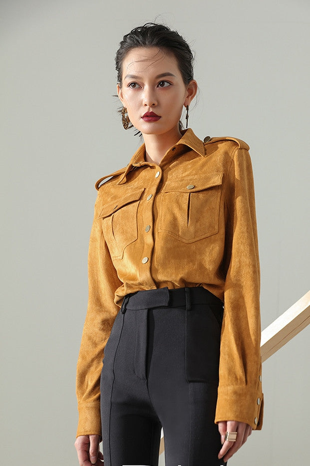 Button Front Faux Suede Shirt