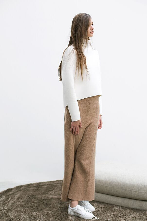 High Waist Crop Wool Pants