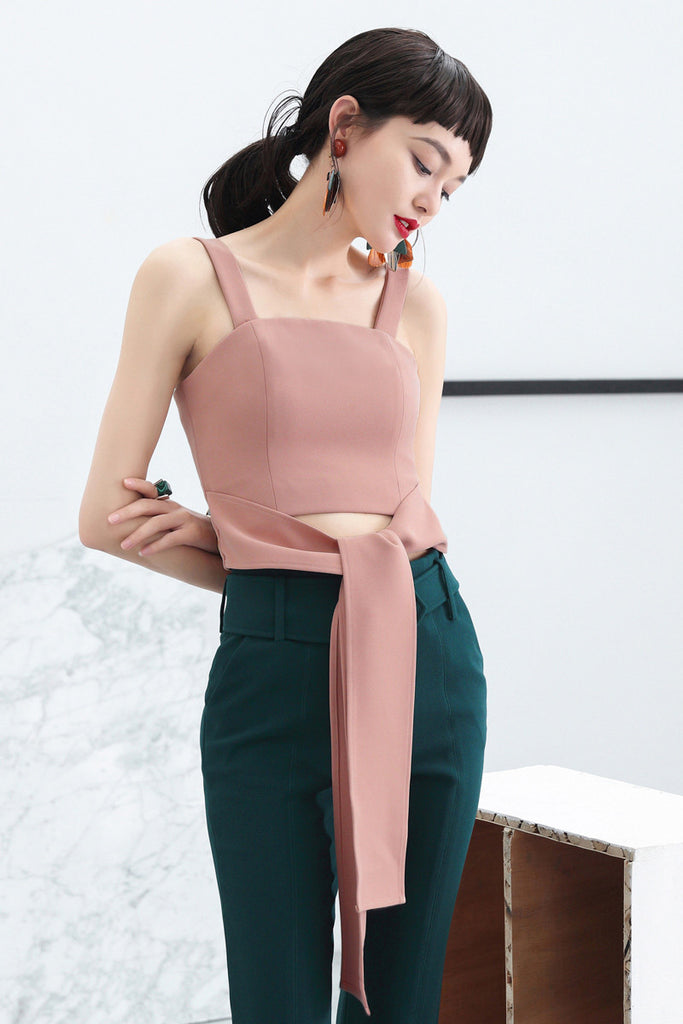 Sleeveless Tie Blouse in Pink