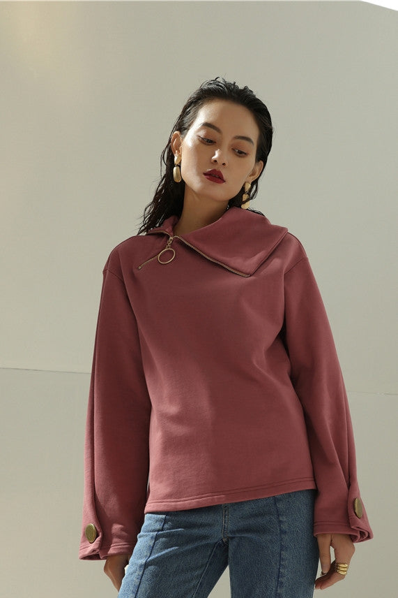 High Neck Zipper Pullover
