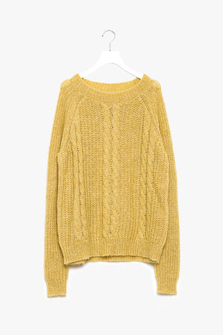 Oversized Cable Knit Sweater in Yellow