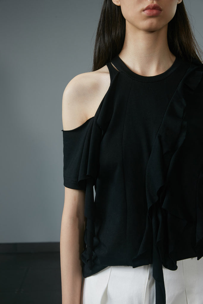 Off-Shoulder Ruffled T-Shirt