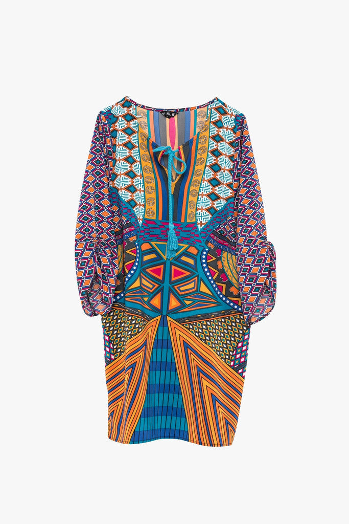 Retro Print Chiffon Caftan Dress