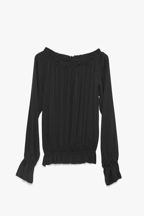 Off The Shoulder Ruffled Silk Shirt