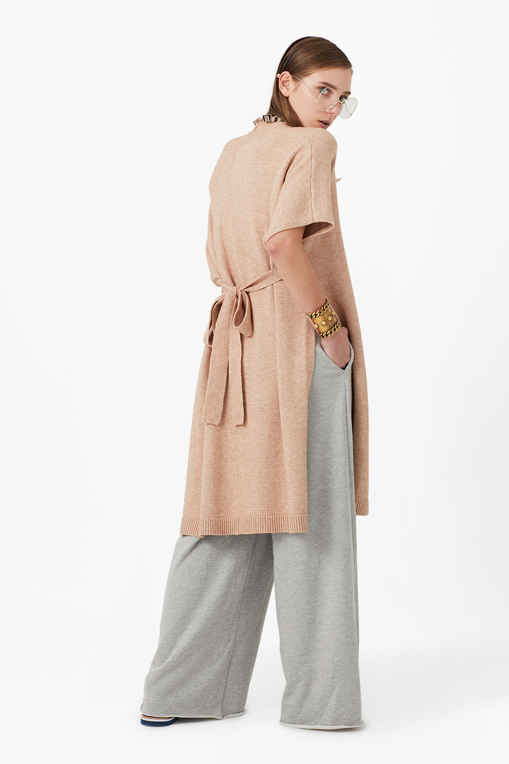 Tie Knit Midi Shirt Dress