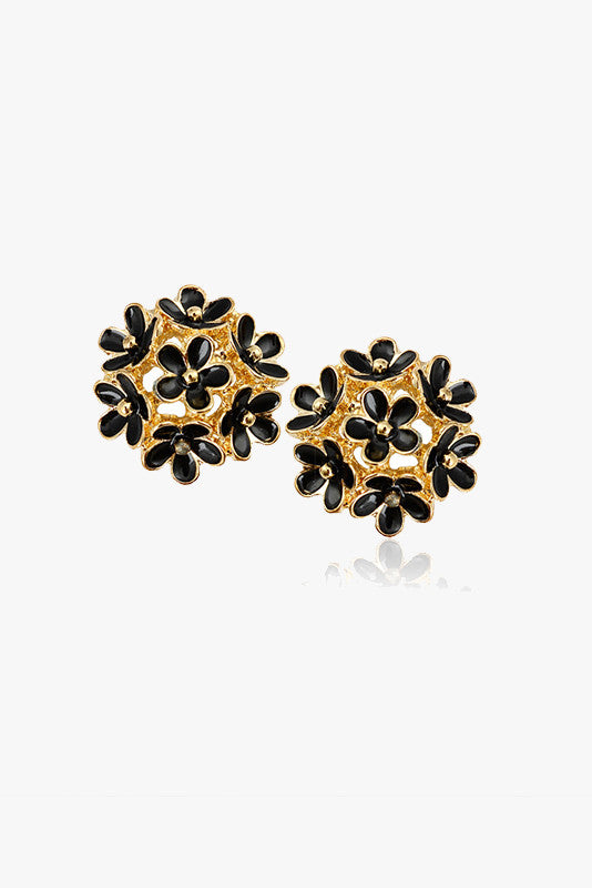 Black and Gold Floral Stud Earrings