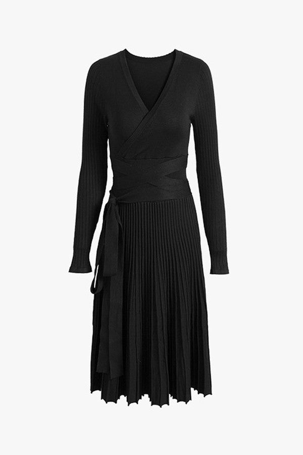 Knit Fit Flare Pleated Midi Dress Genuine People