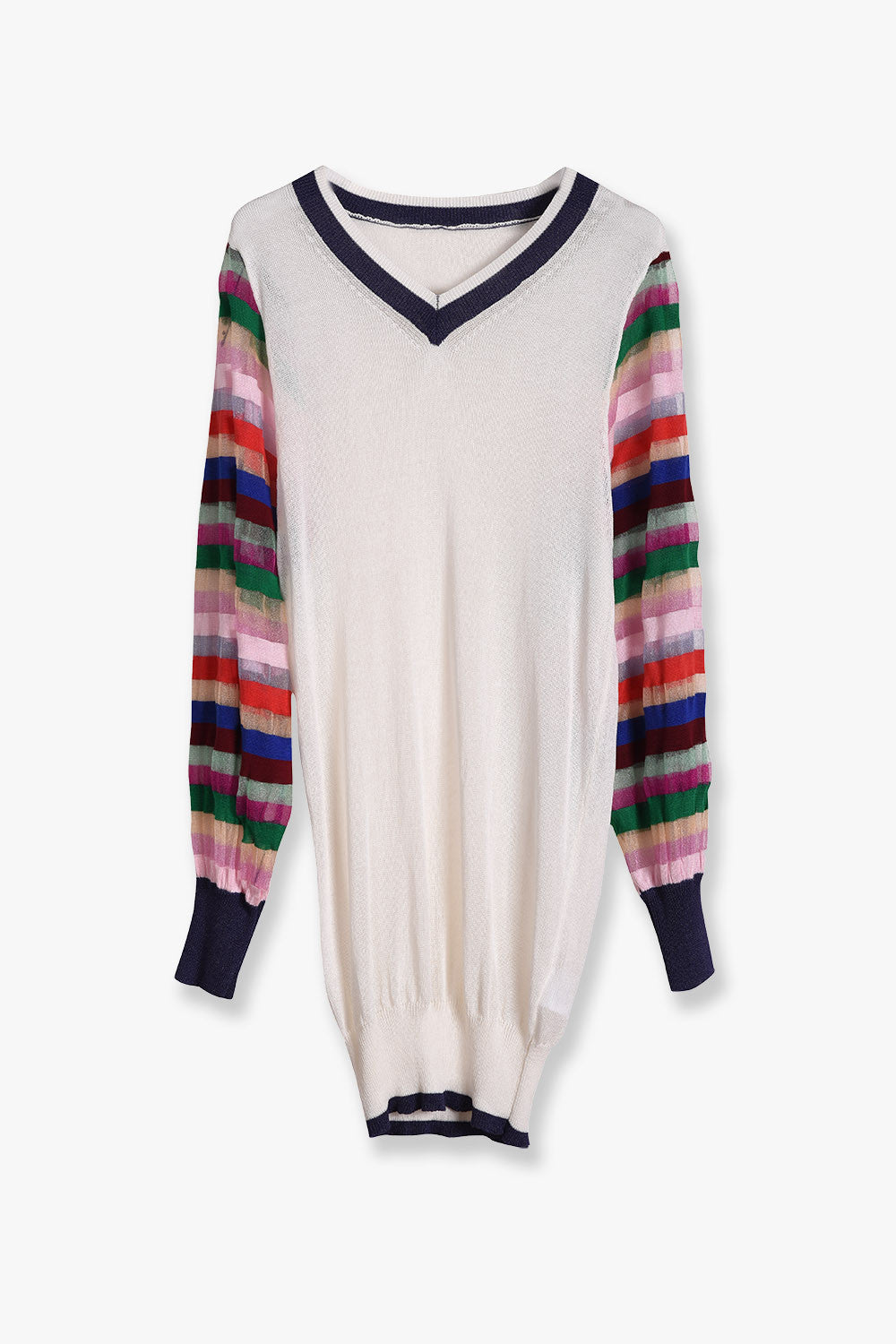 Striped-Sleeves Sheer Knit Sweater