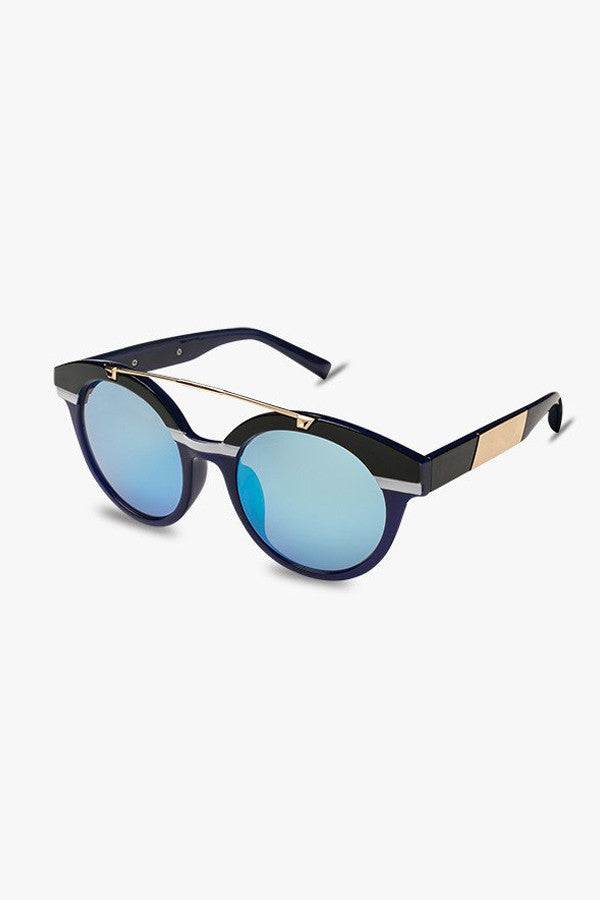 Round Two-Tone Oversized Sunglasses